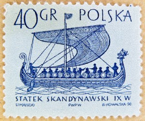 An ancient Greek sailing ship on a stamp from Poland.